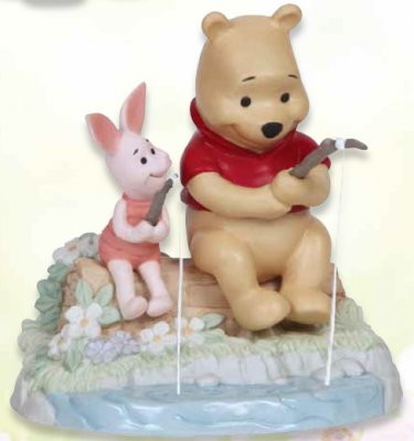 'I Love Catching Up With You' - Pooh & Piglet fishing figurine