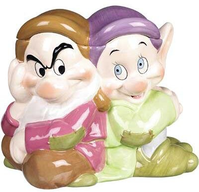 Grumpy and Dopey cookie jar