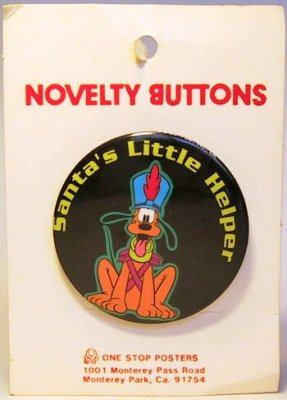 Santa's Little Helper Pluto button