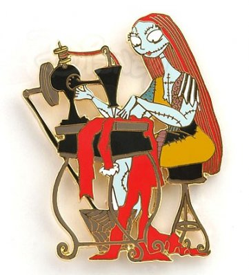 Sally sewing Jack Skellington's Sandy Claws costume pin