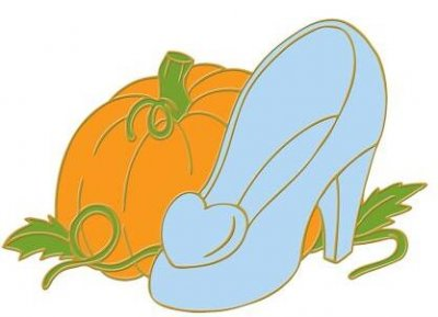 Cinderella's glass slipper and pumpkin pin (Disney shoe series ...