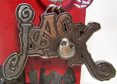 Jack Skellington name pewter keychain
