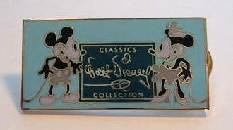 Mickey Mouse and Minnie Mouse with Walt Disney Classics Collection logo pin