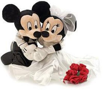 Mickey Mouse and Minnie Mouse wedding plush