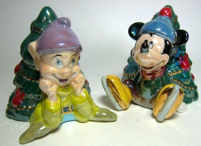 Dopey and Mickey Mouse Christmas trees salt and pepper shaker set