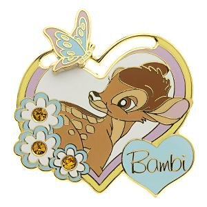 Bambi with butterfly heart sliding pin