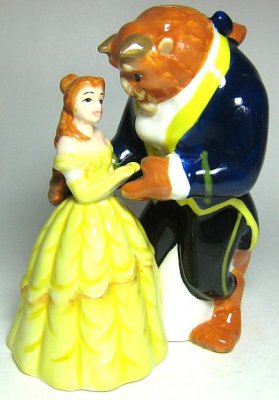 Belle and Beast dancing magnetized salt and pepper shaker set