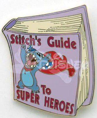 Stitch's Guide to Super Heroes book pin