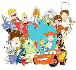 Pixar Characters Group Jumbo Pin From Our Pins Collection