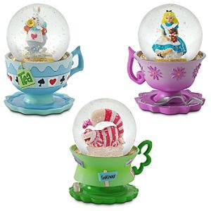 Alice in Wonderland / White Rabbit / Cheshire Cat 3-piece snowglobe set