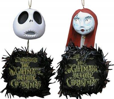 Jack Skellington Hanging Heads Ornaments Set 3 NECA Nightmare Before Christmas