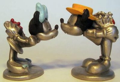Mickey Mouse and Minnie Mouse St Valentine's Day colored pewter figure set