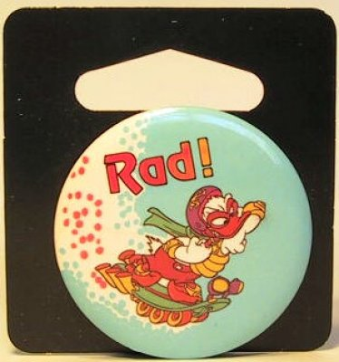Rad! Donald Duck skateboarding button
