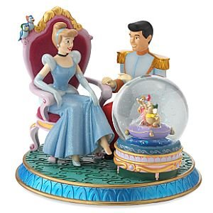 Cinderella & Prince Charming Glass Slipper musical snowglobe