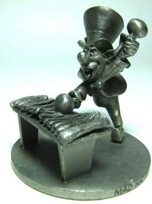 Mad Hatter playing the xylophone pewter figure