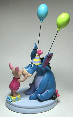 Piglet with Eeyore with green & blue balloons figure