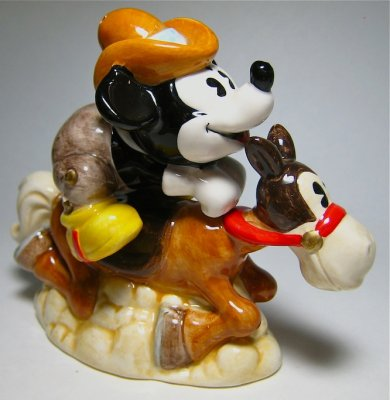 Two Gun Mickey Mouse And Horse Salt And Pepper Shaker Set