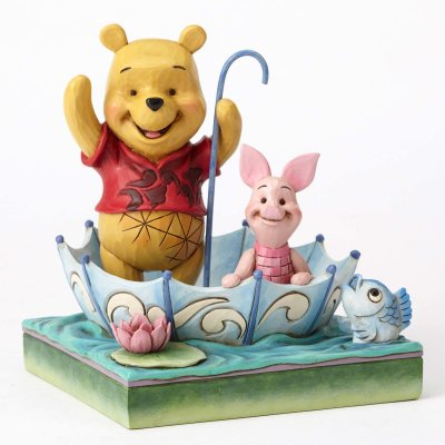 '50 Years of Friendship' - Winnie the Pooh and Piglet in umbrella figurine (Jim Shore Disney Traditions)