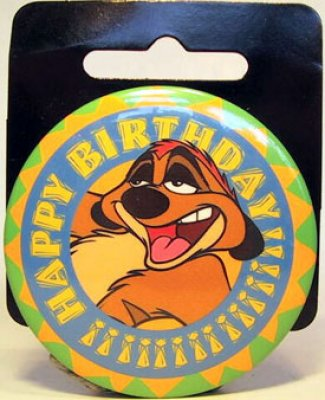 Timon Happy Birthday large button from our Buttons