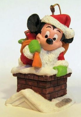 Santa Claus Mickey Mouse In Chimney Ornament From Our