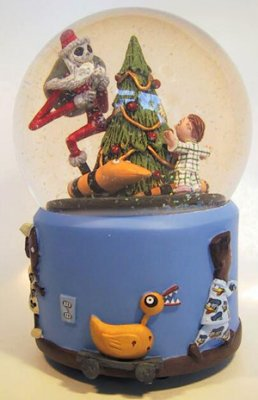 santa jack christmas night musical snowglobe - Nightmare Before Christmas Snow Globes