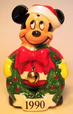 Mickey Mouse with wreath and bell ornament