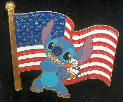 Stitch And Duckling Old Glory American Flag Pin From Our Pins Collection Disney Collectibles