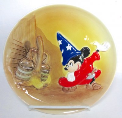 Mickey Mouse as Sorcerer's Apprentice with broom Bas Relief decorative plate