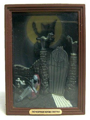 Sally at gate shadow box from our Nightmare Before