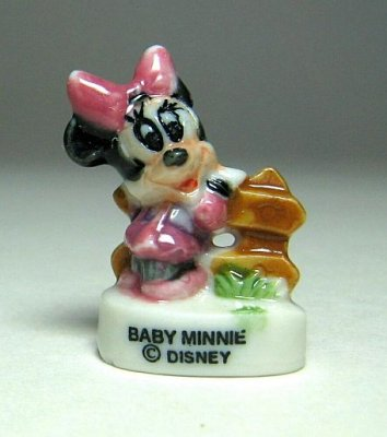 Baby Minnie Mouse at fence porcelain miniature figure