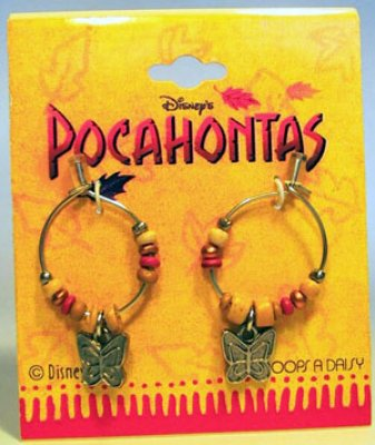 Pocahontas hoop earrings, with butterflies