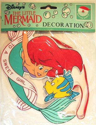 'To A Sweet Girl' Ariel and Flounder Disney wood ornament