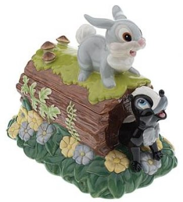 Thumper The Rabbit And Flower The Skunk On Log Cookie Jar