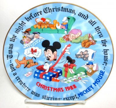 x'Christmas Greetings 1988' - Disney decorative plate