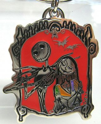 ... Keychains > Jack Skellington & Sally pewter keychain (red background