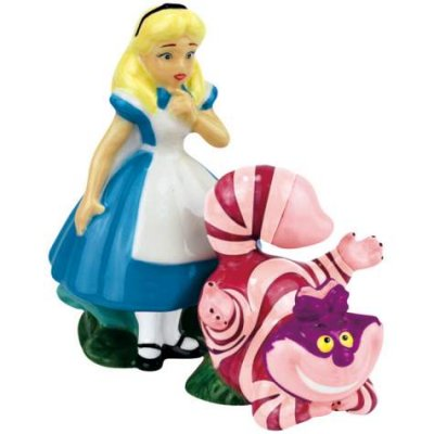Alice and Cheshire Cat magentized salt and pepper shaker set