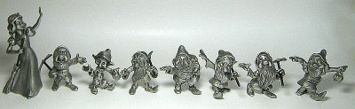 Set of Snow White and Seven Dwarfs large pewter figures