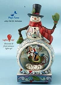 A winter wonderland Mickey Mouse and snowman musical figurine (Jim Shore Disney Traditions)