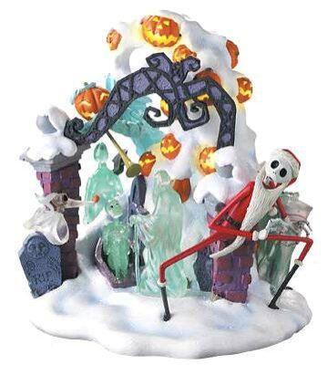 Santa Jack Skellington In Sandy Claws' Light Up Graveyard From  - Nightmare Before Christmas Light