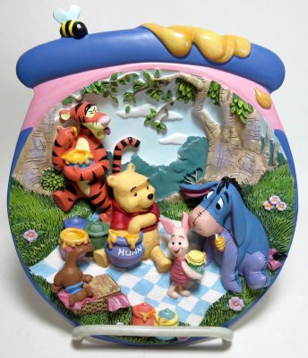 'A Pooh-ish sort of picnic' - 3D decorative plate
