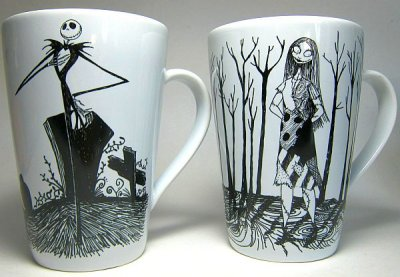 Set of Nightmare Before Christmas black + white mugs from our Mugs ...