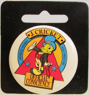 Jiminy Cricket - Official Conscience button