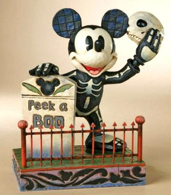 Peek a boo Mickey Mouse as Halloween skeleton figure