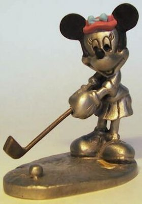 Minnie Mouse playing golf colored pewter figure