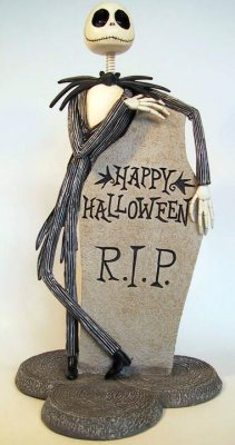 Jack Skellington Happy Halloween RIP headstone bobblehead