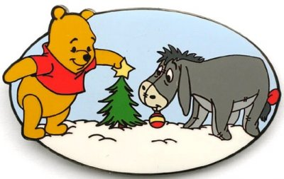 Pooh & Eeyore decorate a mini Christmas tree pin from our Pins ...