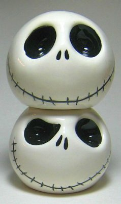 Stackable Jack Skellington salt and pepper shaker set