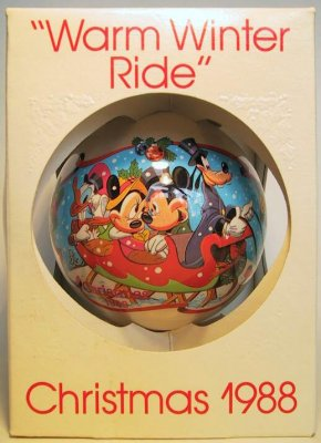 'Warm Winter Ride' glass Disney ornament
