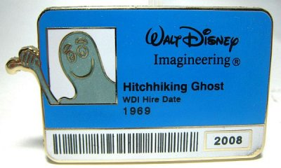 Ezra the Hitchhiking Ghost 'Walt Disney Imagineering staff ID badge' pin